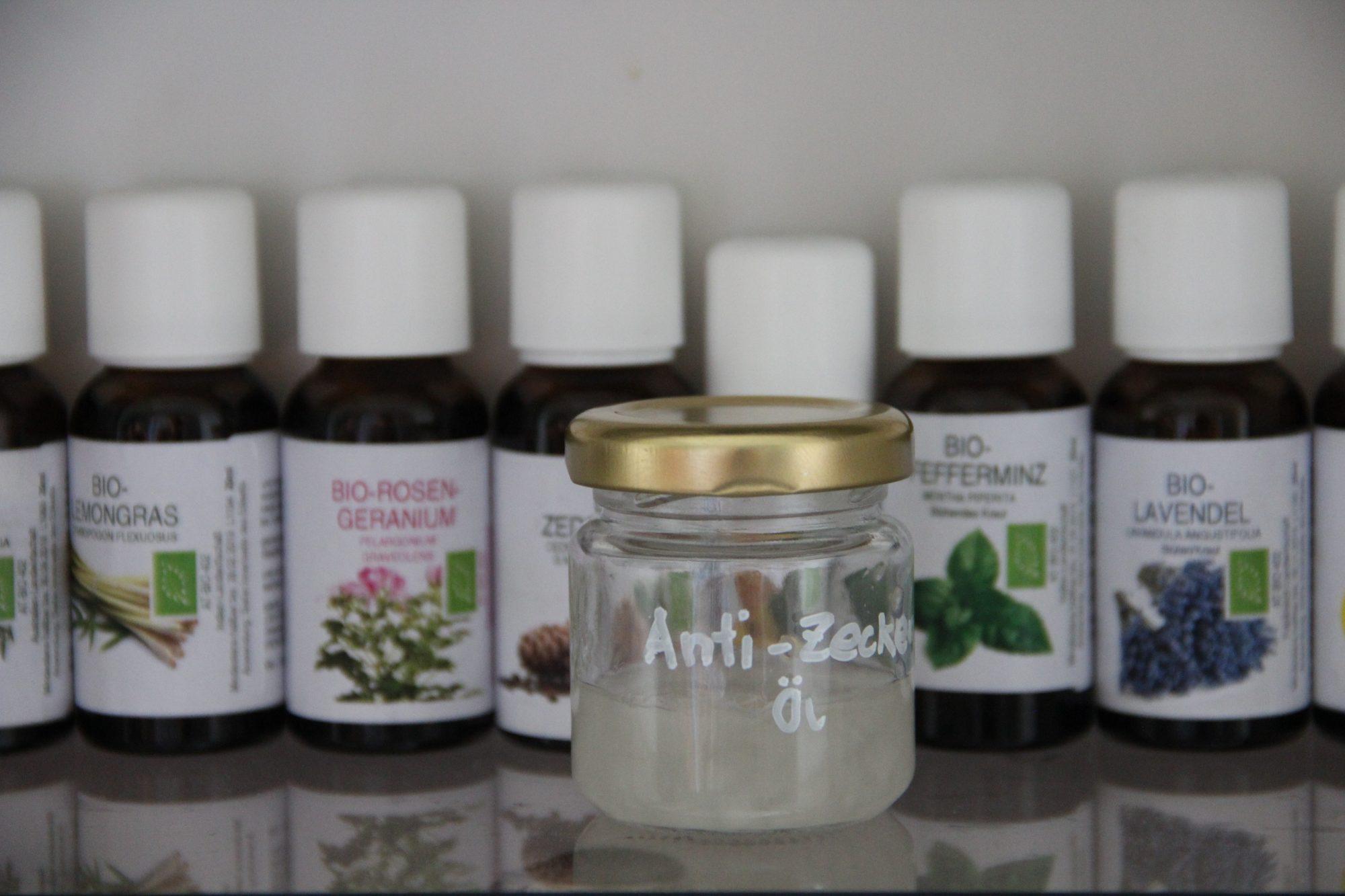 Anti-Zecken-Öl, Insektenspray und Bienenstichheilmittel